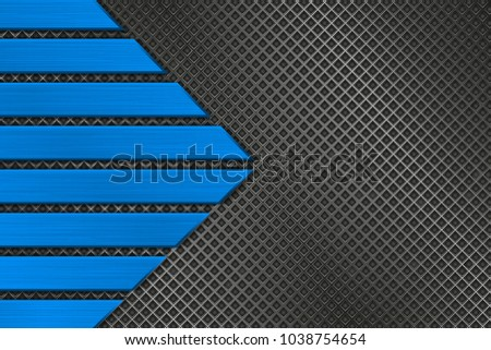 Metal perforated background with blue stripes. Vector 3d illustration