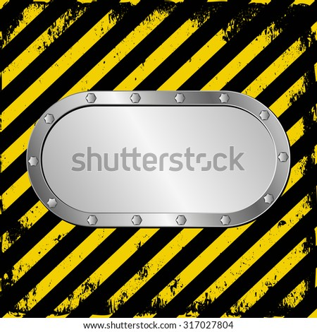 metal plaque on warning tape