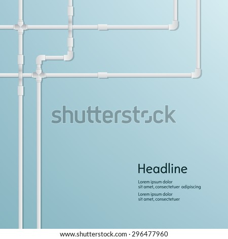 Metal plastic pipe and battery background. Isolated. Vector illustration. - stock vector