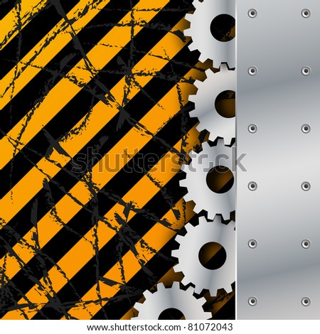 Metal plate and gears on dirty grunge vector - stock vector
