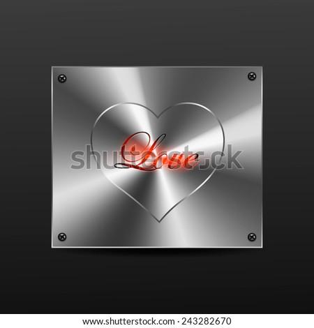 metal plate heart - stock vector