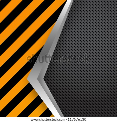 Metal plate on grunge vector background