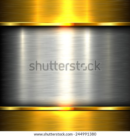 Metal plate texture polished metal background, vector illustration. - stock vector
