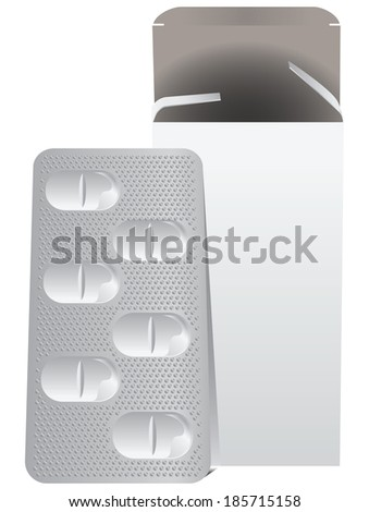 Metal plate with pills and a cardboard box. Vector illustration. - stock vector