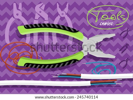 Metal pliers with tangled blue red electric cable, pliers cut the cable. Electrician peeling off insulation from wires and pliers. Flat icon modern design style concept  - stock vector