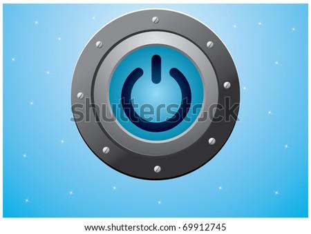 metal power blue button vector eps8 - stock vector