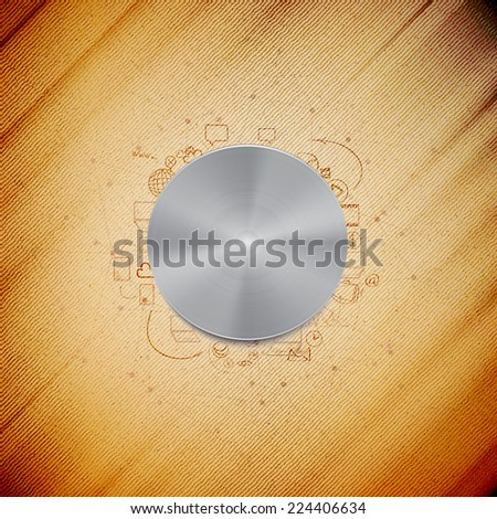 Metal power button with other doodle design elements, wooden background vector illustration. - stock vector