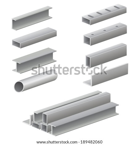 Metal profile and tubes - stock vector