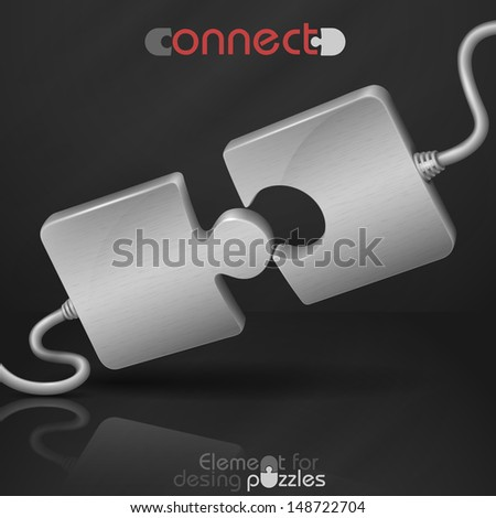 Metal puzzle. Connect. Vector illustration. Eps 10. - stock vector