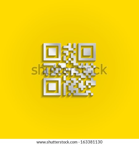 Metal qr code icon. Vector design - stock vector