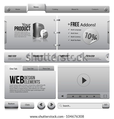 Metal Ribbons Website Design Elements 4: Buttons, Form, Slider, Scroll, Icons, Tab, Menu, Navigation Bar, Box, Video Player, Template, Web - stock vector