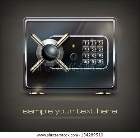 Metal safe isolated on black & text, vector illustration  - stock vector