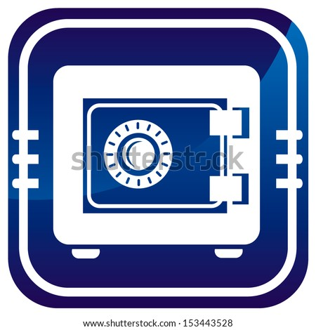 Metal safe on blue button. Security concept.  - stock vector