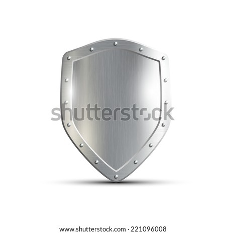 metal shield isolated on white background - stock vector