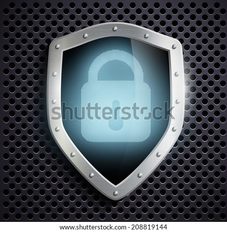 metal shield with blue lock - stock vector