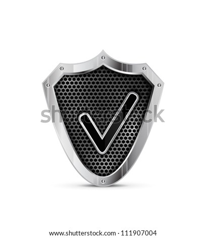 Metal shield with tick. Vector protection icon - stock vector