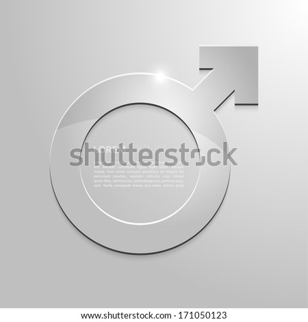 Metal sign of masculinity on a gray background.  Icon with copy space