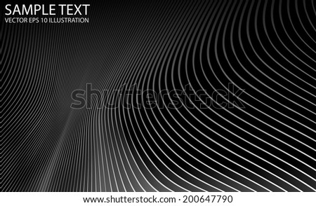 Metal silver vector curved background illustration template - Vector metal abstract moire effect lines background - stock vector