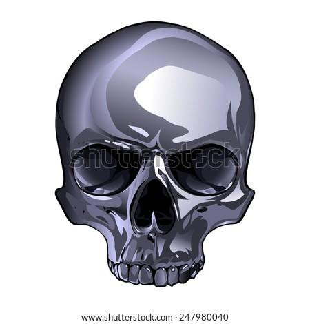 Metal skull - stock vector