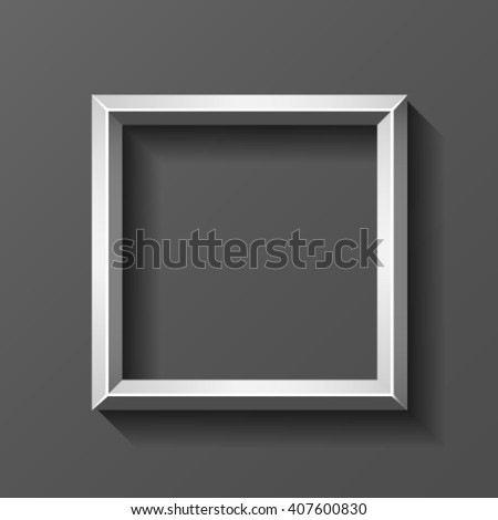 Metal square frame with bevel, vector. - stock vector