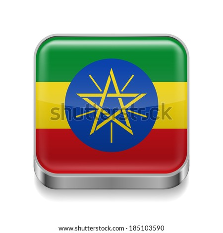 Metal square icon with Ethiopian flag colors