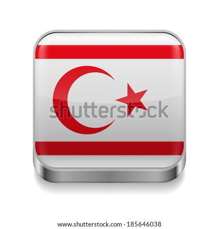 Metal square icon with flag colors of Northern Cyprus - stock vector
