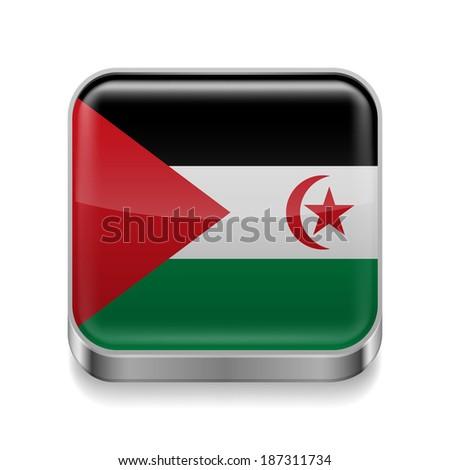 Metal square icon with flag colors of Sahrawi Arab Democratic Republic - stock vector