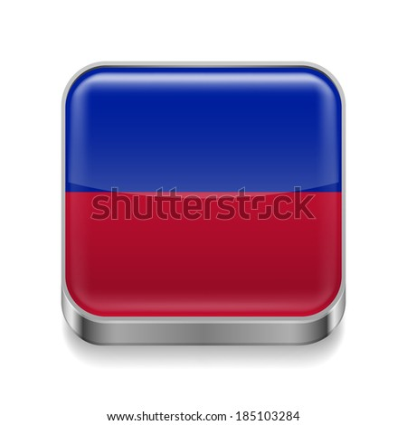 Metal square icon with Haitian flag colors