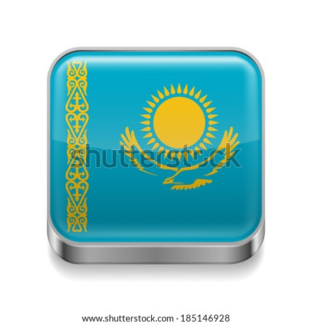 Metal square icon with Kazakh flag colors - stock vector