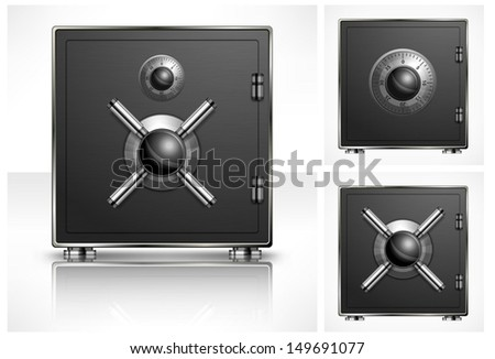Metal square safe with combination lock, vector illustration