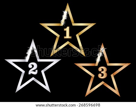 Metal stars for first three places - stock vector