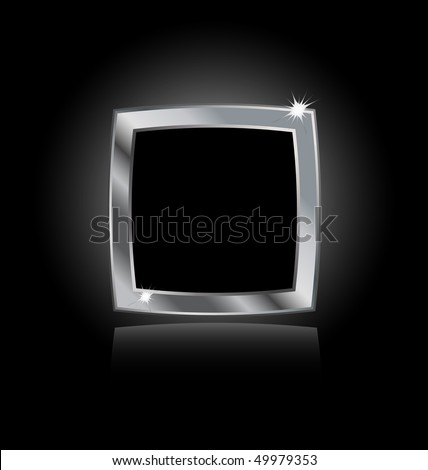 metal steel frame isolated on black background - stock vector