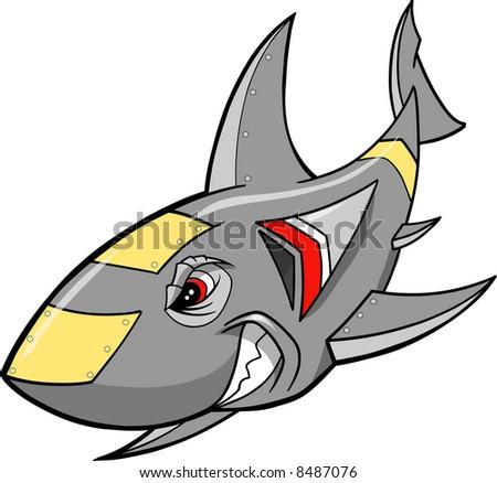 Metal Steel Robot Shark Vector Illustration - stock vector