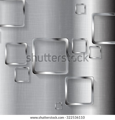 Metal tech design with squares. Vector illustration - stock vector