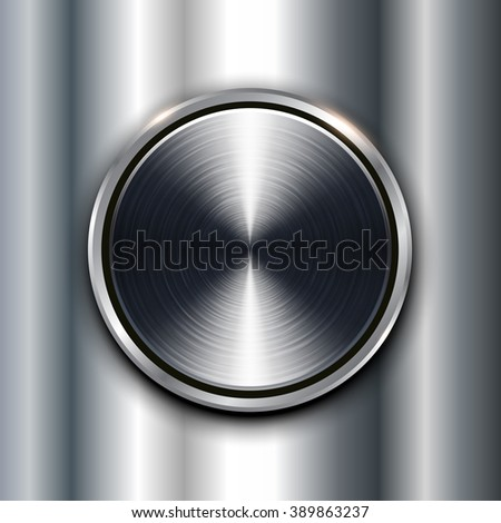 Metal texture background with metallic circular button.