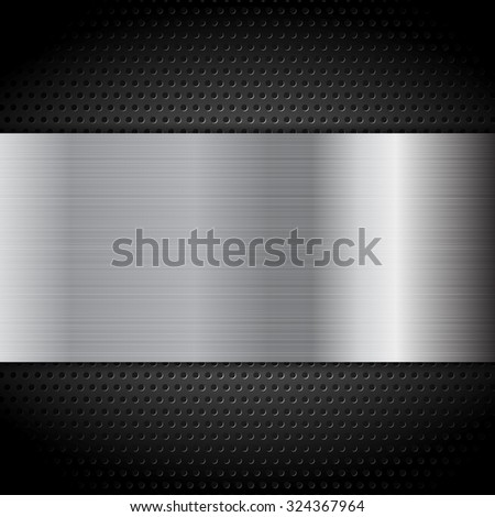 Metal texture plate on perforated background. Vector design - stock vector