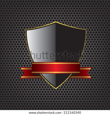 Metal textures and shield illustration background - stock vector