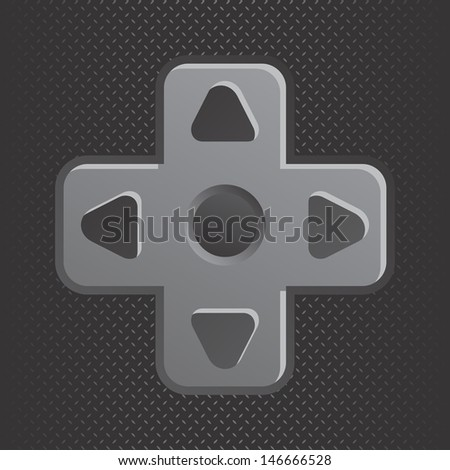 metal theme game console direction button - stock vector