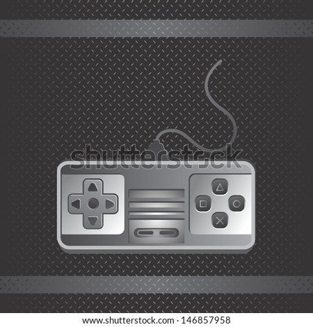 metal theme game console silver art - stock vector