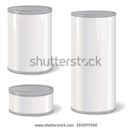 Metal Tin Can. Retro Canned Food. Product Packing. - stock vector