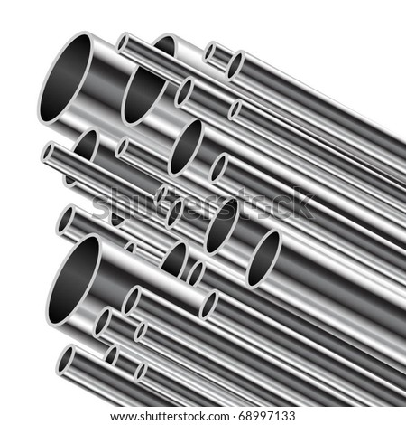 Metal tube on a white background. Vector illustration. - stock vector