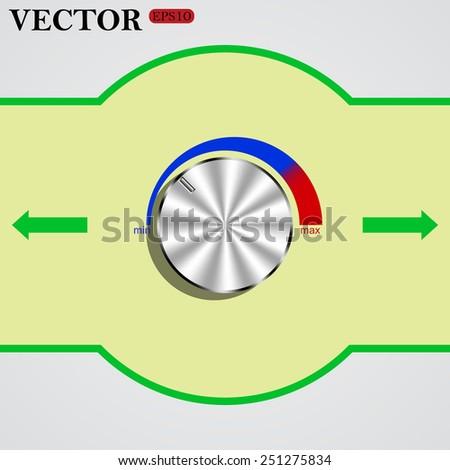 metal volume control, red, blue, light, vector illustration, EPS 10 - stock vector