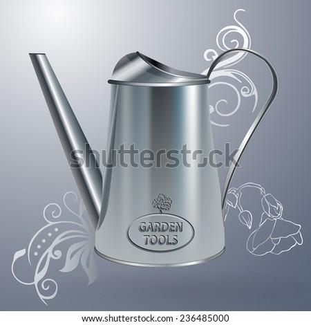 metal watering can - vector illustration - stock vector