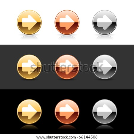 Metal web 2.0 buttons with arrow sign. Round shapes with shadow and reflection on white, gray and black - stock vector