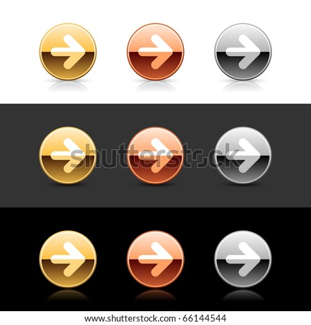 Metal web 2.0 buttons with arrow symbol. Round shapes with shadow and reflection on white, gray and black - stock vector
