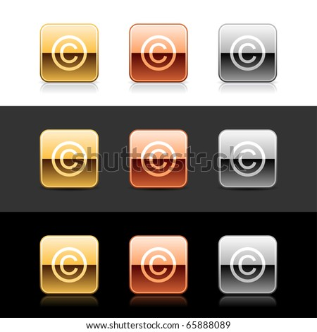 Metal web 2.0 buttons with copyright sign. Rounded square shapes with shadow and reflection on white, gray and black - stock vector
