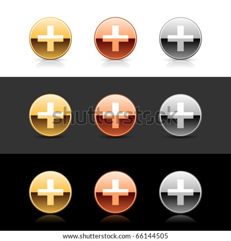 Metal web 2.0 buttons with cross sign. Round shapes with shadow and reflection on white, gray and black - stock vector