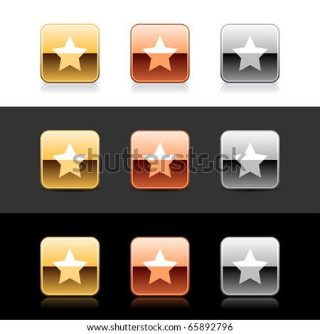 Metal web 2.0 buttons with star sign. Rounded square shapes with shadow and reflection on white, gray and black - stock vector