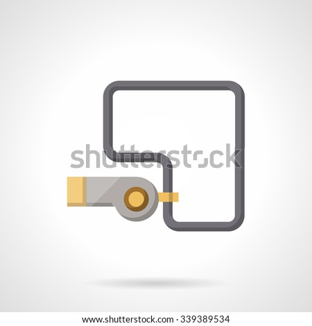 Metal whistle with cord. Equipment for coach, referee. Flat color style vector icon. Buttons and design elements for website, mobile app, business.  - stock vector