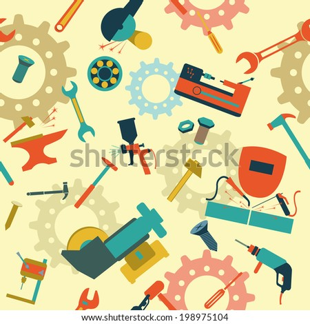 Metal work tools background. Seamless, pattern. Vector illustration - stock vector